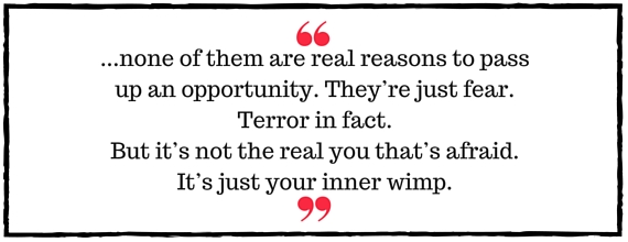 Jo Davidson Block Quote: none of them are real reasons to pass up an opportunity. They're just fear. Terror in fact. But it's not the real you that's afraid. It's just your inner wimp.